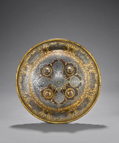 A gold damascened Persian shield