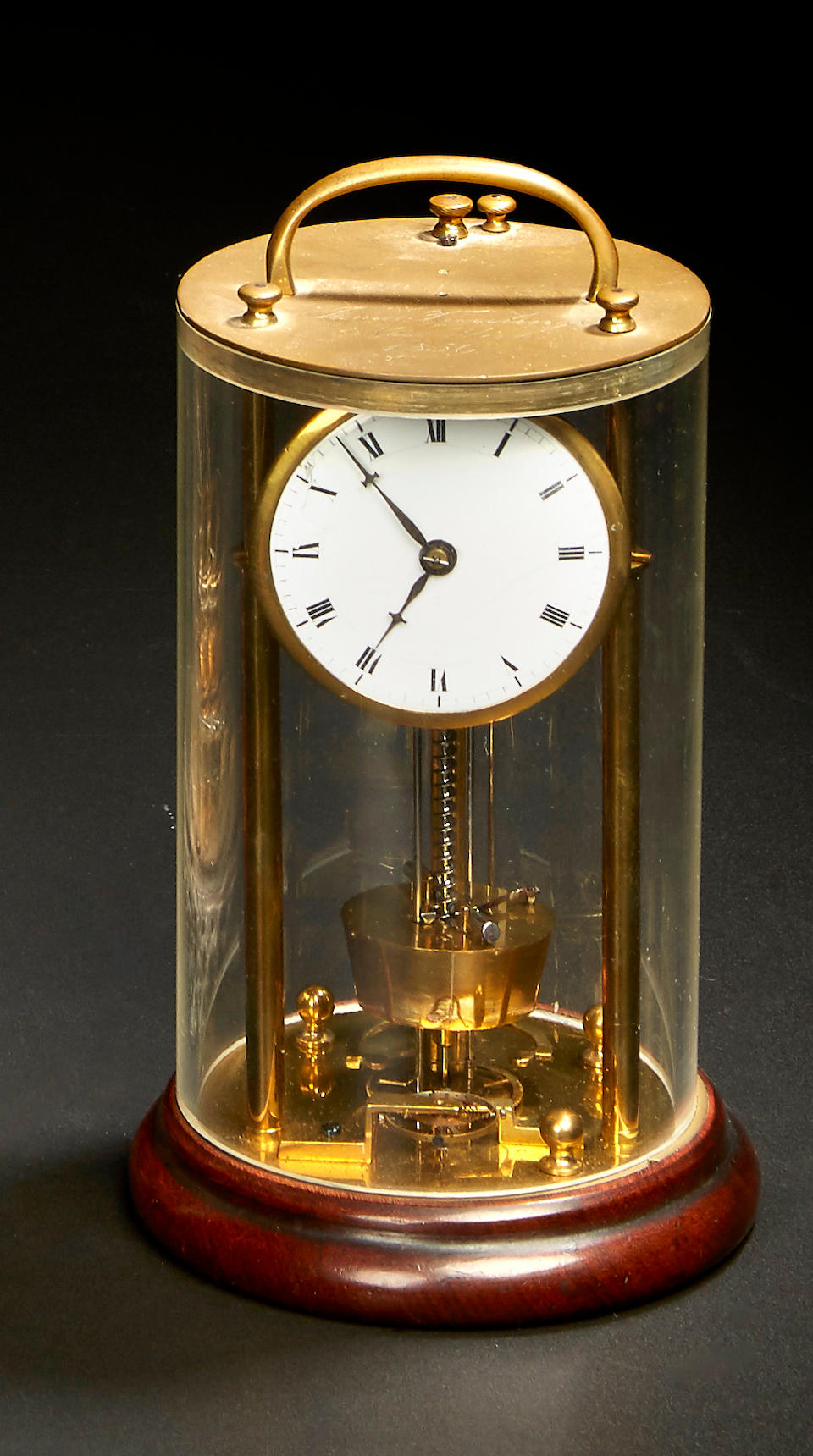 "The Patent Model of the ""Screw Clock"" with maintaining power of James Tuerlingx, New York Signed and dated 1856, for Patent No. 15344, issued January 6, 1857"