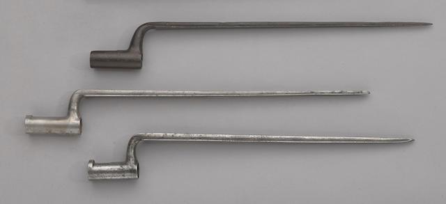A lot of three early American socket bayonets