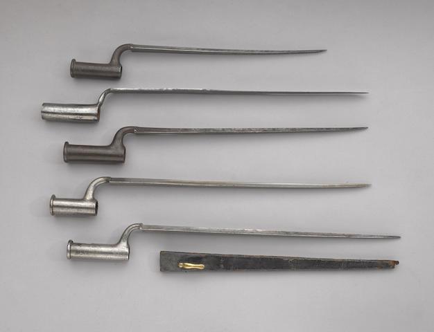 A lot of five British socket bayonets