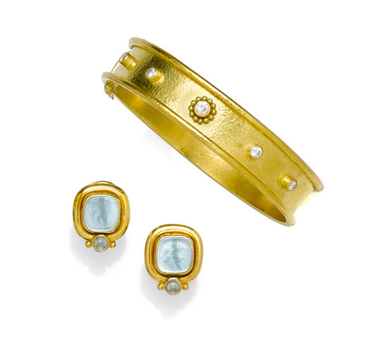 A diamond and 18k gold bangle bracelet, together with a pair of glass intaglio and 18k gold earrings, Elizabeth Locke