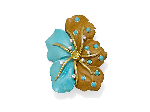 A turquoise, wood, yellow sapphire, diamond and 18k gold flower brooch, Seaman Schepps