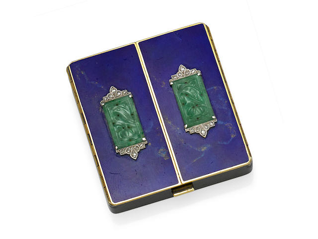 An enamel, jade, diamond, platinum and 14k gold compact, Tiffany & Co.