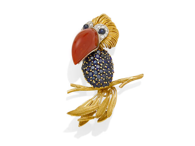 A coral, sapphire, diamond and 18k gold toucan brooch