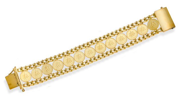 A Mexican gold coin and 18k gold bracelet