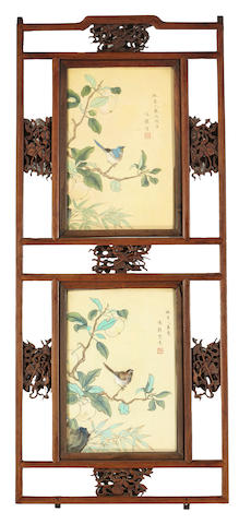 A pair of lattice wood architectural fragments Late Qing/Republic period