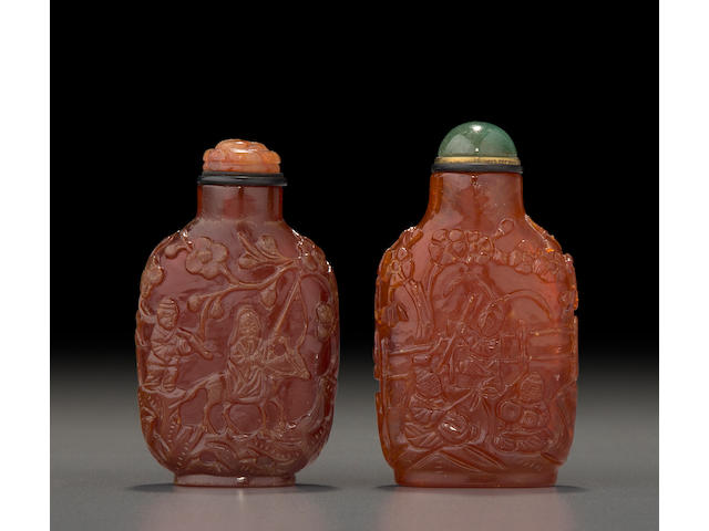 Two carved amber 'figural' snuff bottles  1830-1900