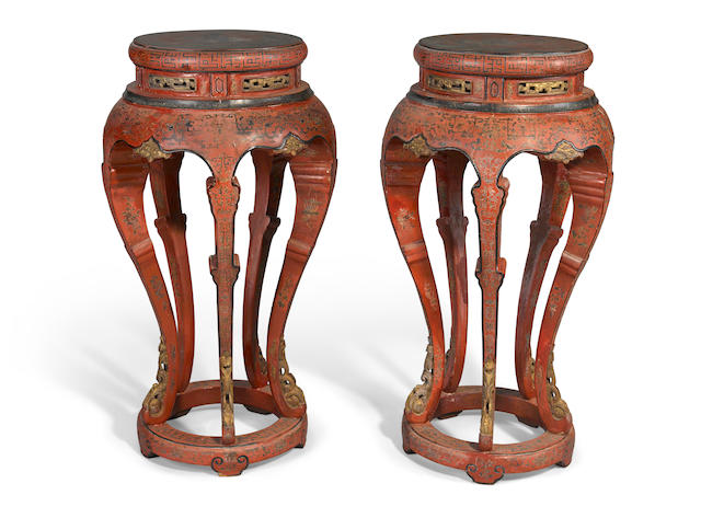 A pair of red lacquered wood vase stands with polychrome and gilt decoration 19th century