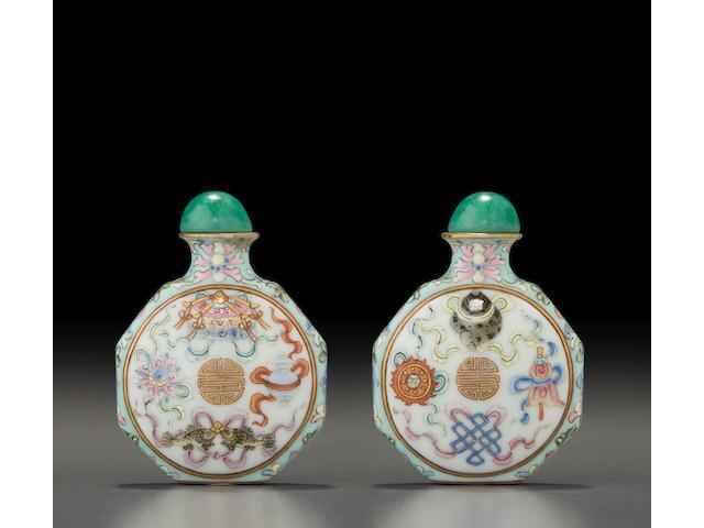 A famille rose enameled porcelain 'ba jixiang' snuff bottle Jingdezhen kilns, Qianlong mark, 1780-1850