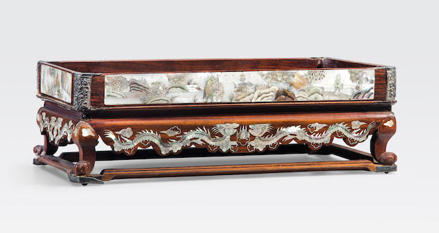 A mother-of-pearl inlaid wood tea or betel nut stand Vietnam or China