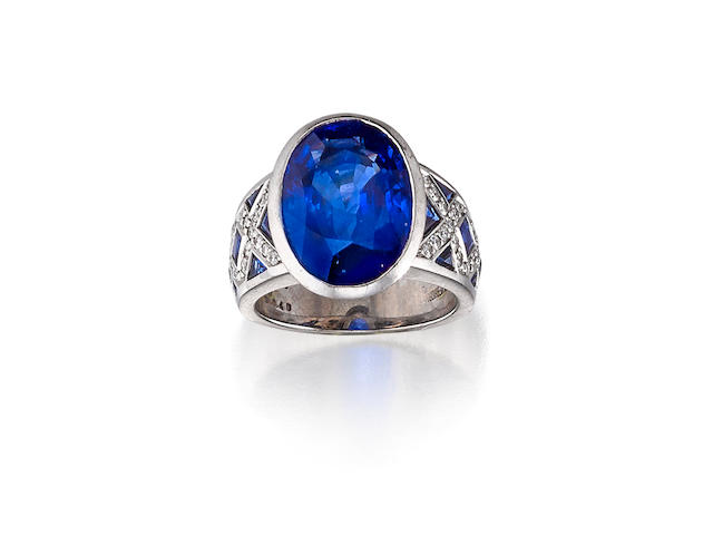 A sapphire and diamond ring, mounted by Silverhorn