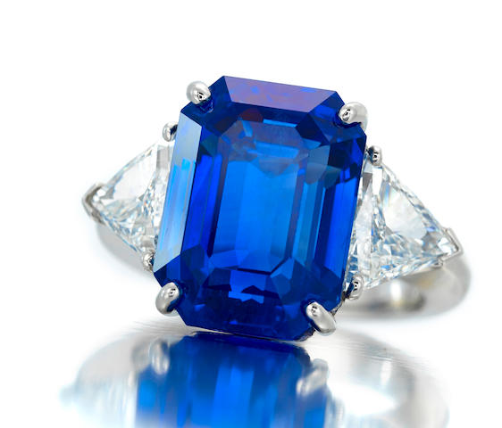 An elegant sapphire and diamond ring