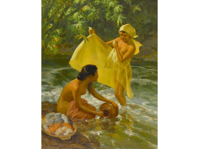 Fernando Armorsolo Y Cueto (1892-1972)  Bathers by a Stream, 1953