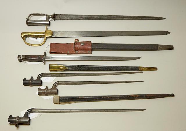 A lot of six British bayonets