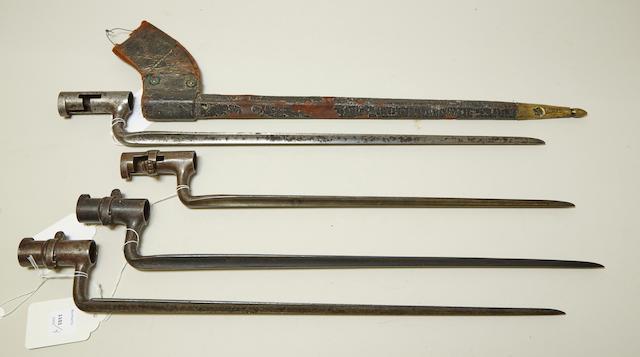 A lot of four U.S. socket bayonets
