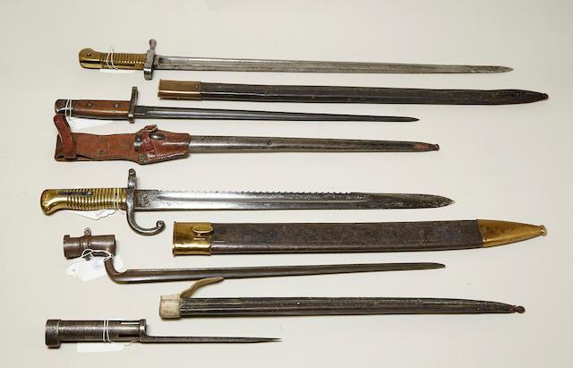 A lot of five Belgian bayonets
