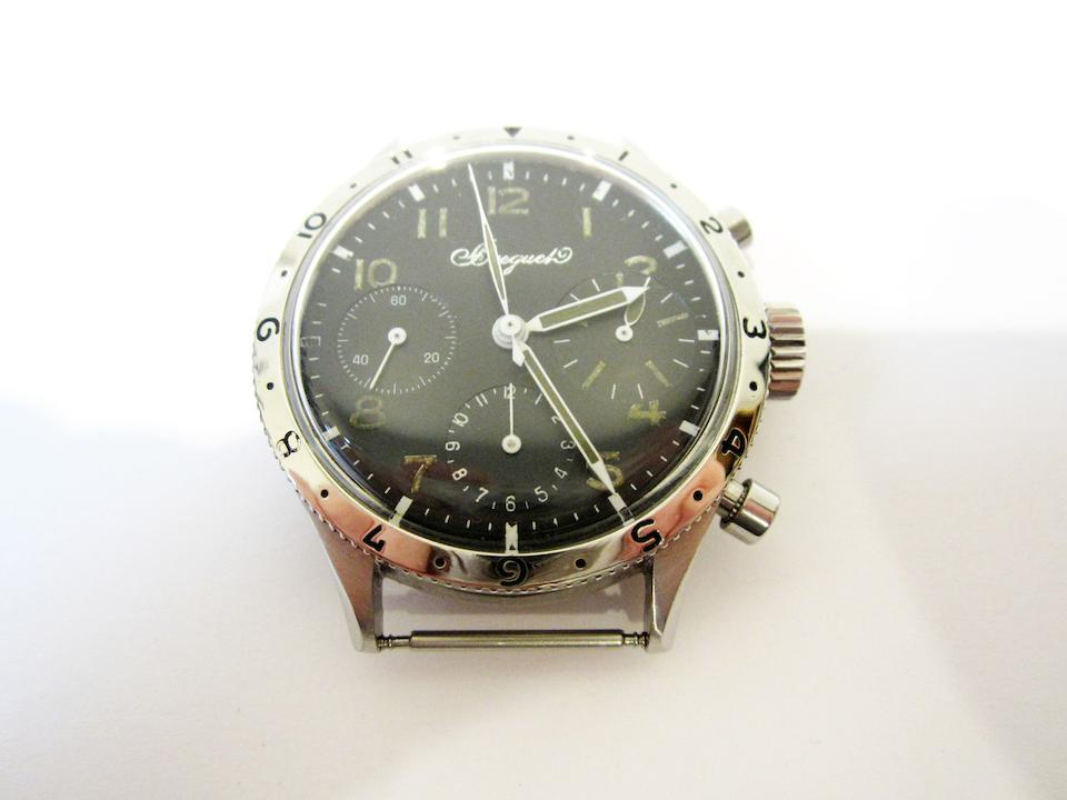 Breguet. A stainless steel manual wind flyback chronograph wristwatch Aeronavale, Type 20, Ref:2977, Circa 1965