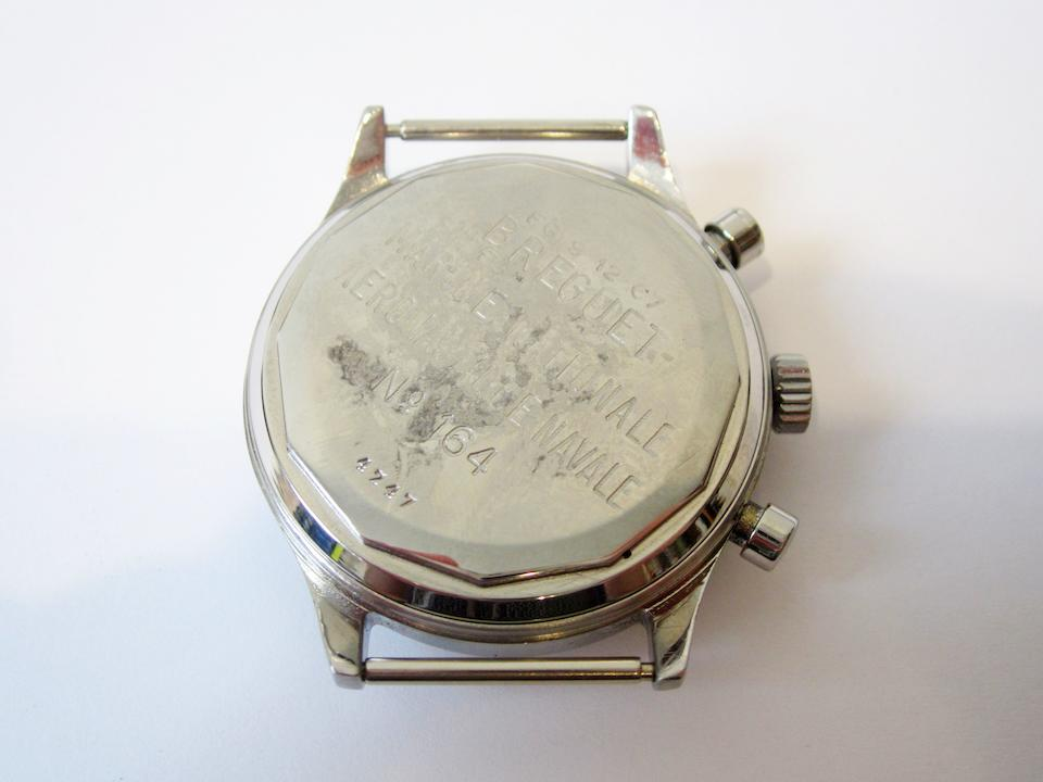 Breguet. A stainless steel manual wind Military issue flyback chronograph wristwatch Aeronautique Navale Type 20, Ref:4247, No.164, Circa 1954