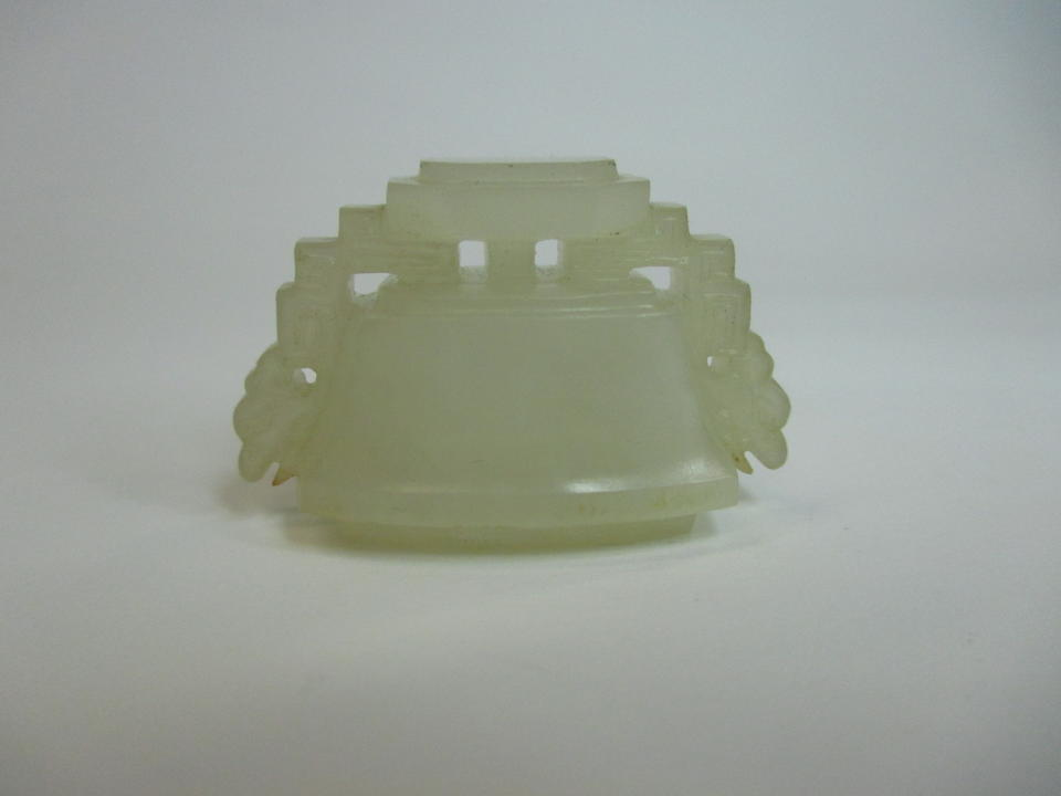 A white jade flattened vase and cover 19th century