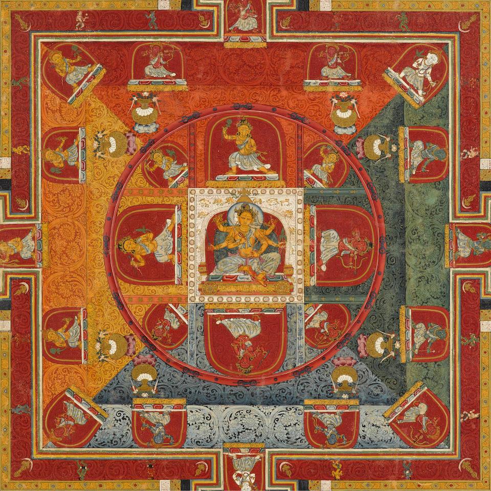 A TWENTY-FIVE DEITY MANDALA OF MARICI CENTRAL TIBET, CIRCA 1375-1400