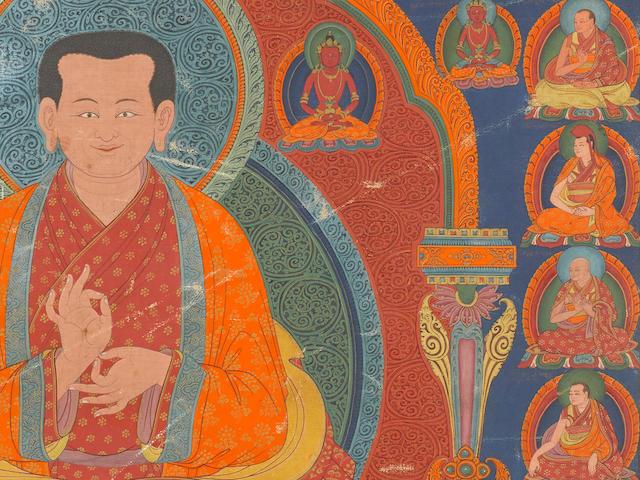 A PORTRAIT THANGKA OF SETON KUNRIG (1025-1113) NGOR MONASTERY, CENTRAL TIBET, CIRCA 1600