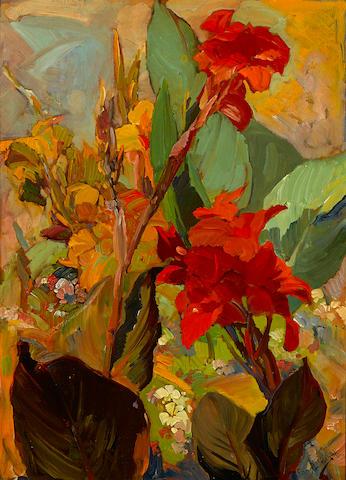 Franz Arthur Bischoff (1864-1929) Canna Lilies 26 x 19in