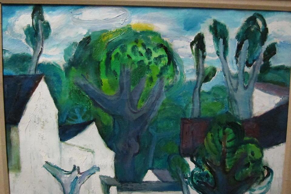 Chen Junde (born 1937) White Village, Green Trees, 1988