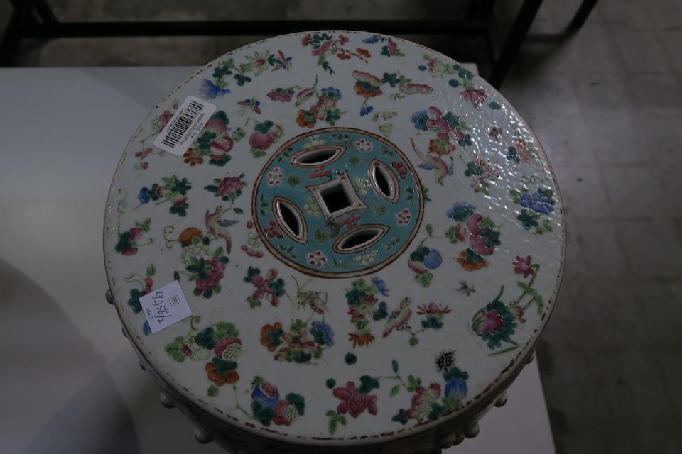 A pair of polychrome enameled garden seats 19th century