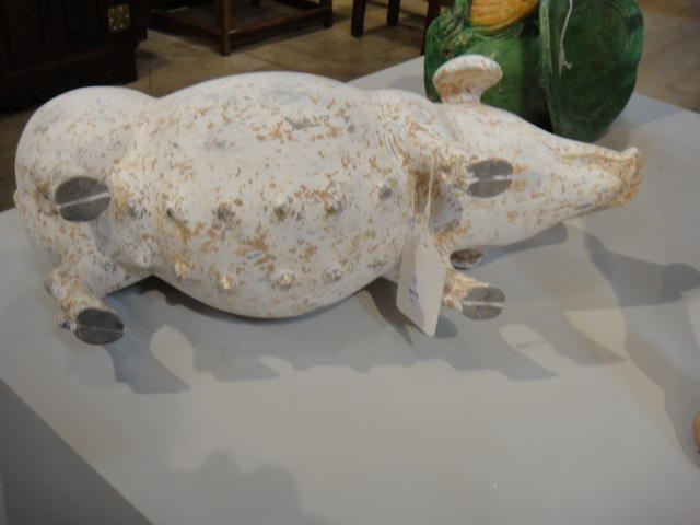 A Painted Gray Pottery Figure of a Sow Han dynasty