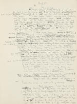 "MILNE, ALAN ALEXANDER. 1882-1956. Autograph Manuscript Signed 3 times (""A.A. Milne""), entitled ""Peace with Honour: An Enquiry into the War Convention,"" approximately 140 pp, 4to, Cotchford Farm, Hartfield, Sussex, 1934,"