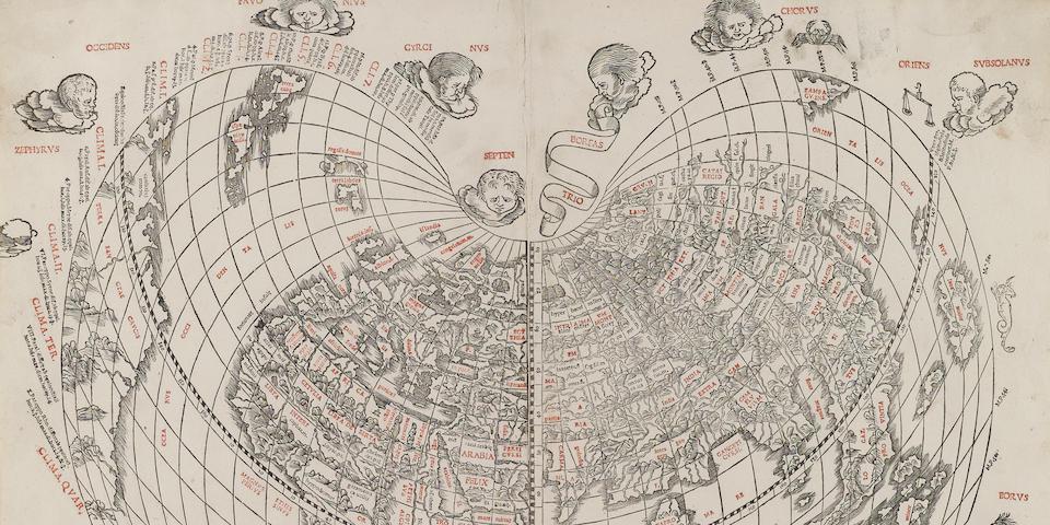 SYLVANUS, BERNARD. [Modern world map. Venice: Jacob Pentium, 1511.]