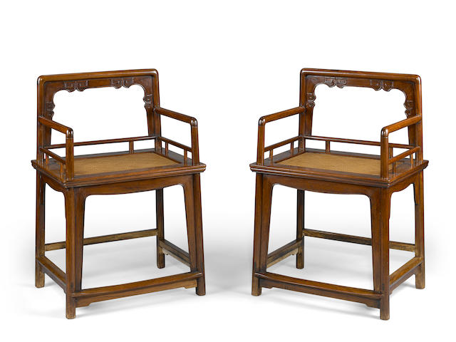 A pair of huanghuali low back arm chairs, Meiguiyi  17th/18th century
