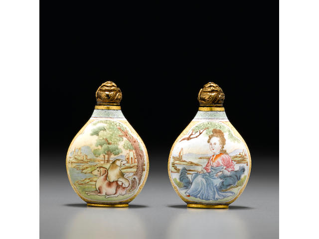 A famille rose enamel on gilt-copper 'European subject' snuff bottle  Imperial, Guangzhou, Qianlong four-character mark and of the period, 1750-1795