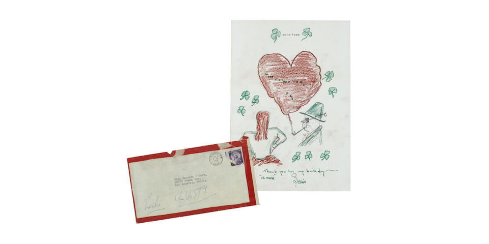 A John Ford hand-drawn Valentine to Maureen O'Hara and signed book