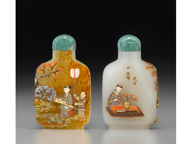 An embellished white and russet jade snuff bottle The bottle: 1820-1920, embellishment: Tsuda family, Kyoto, Japan, 20th century