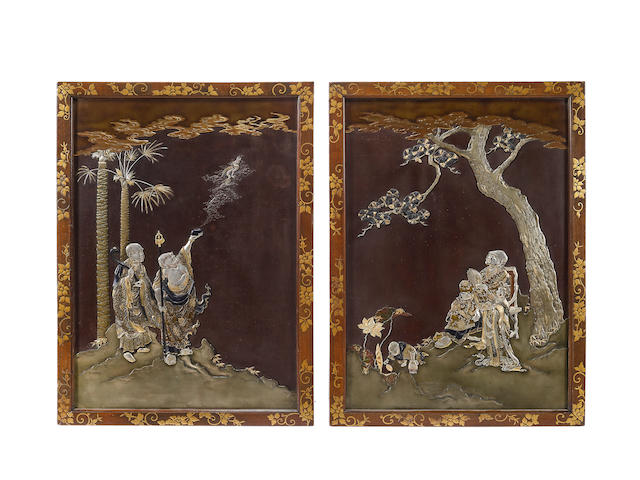 A pair of inlaid iron panels  Meiji era (1868-1912), late 19th century