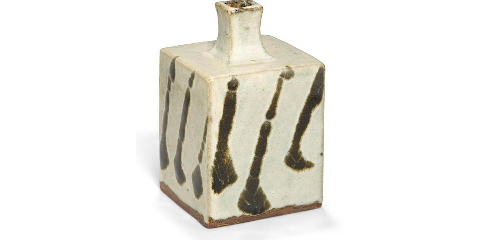 A rectangular stoneware bottle vase By Hamada Shoji (1894-1978)