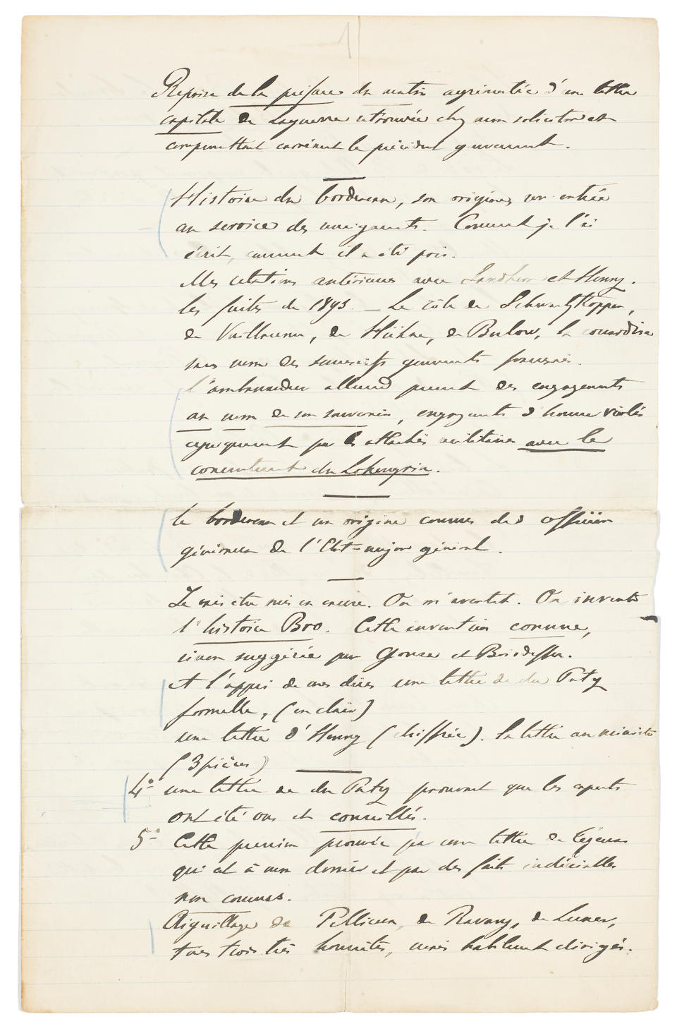 THE DREYFUS AFFAIR & ÉMILE ZOLA.  A GROUP OF LETTERS AND MANUSCRIPTS CENTRAL TO THE TRIAL OF THE 19TH CENTURY.