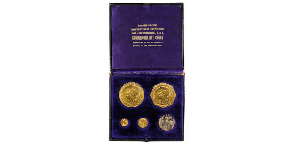 1915-S Panama-Pacific Five Coin Set with Original Case of Issue