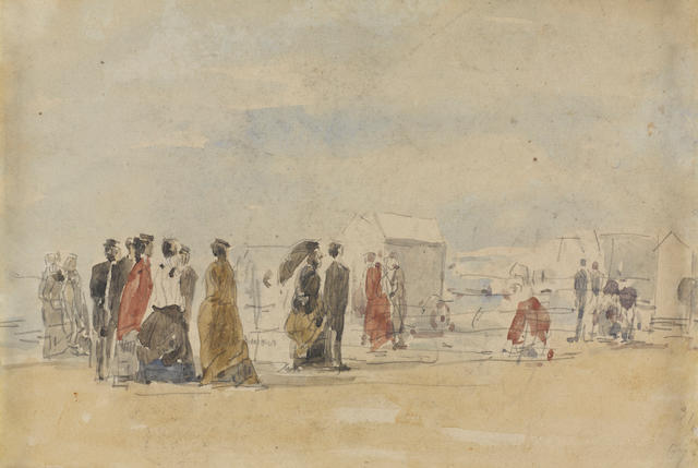 Eugene Boudin (1824-1898) Scène de plage 6 3/4 x 10 1/4 in (17.1 x 25.7 cm) (sight) (Painted in 1867)