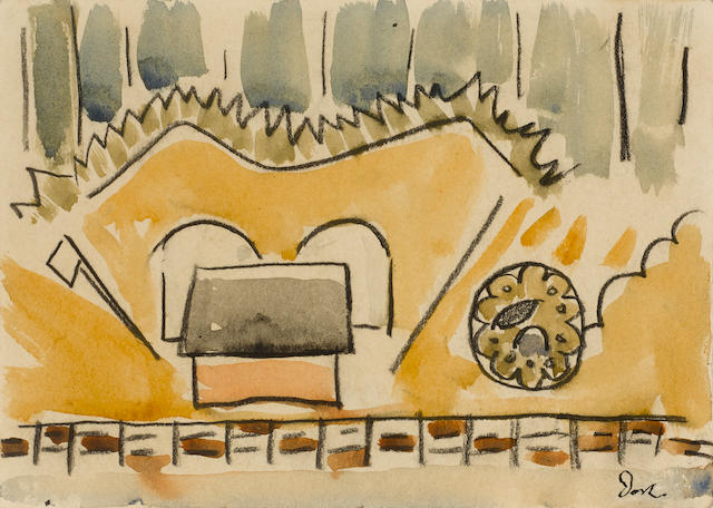 Arthur Dove (1880-1946), Across the Harbor, 1932, watercolor and charcoal on paper, 5 x 7in