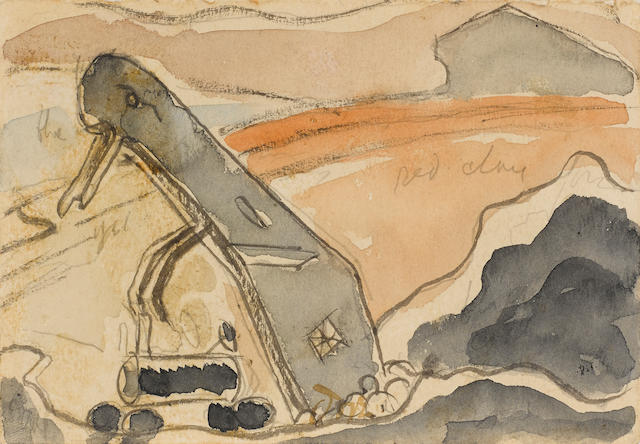 Arthur Dove (1880-1946), Derrick (Steam Shovel, Port Washington), 1931, watercolor and graphite on paper, 3 3/8 x 4 7/8in