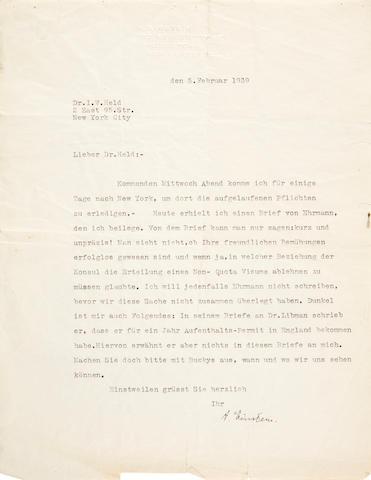 """EINSTEIN, ALBERT. 1879-1955. Typed Letter Signed (""""A. Einstein""""), in German, 1 p, 4to, Princeton, February 5, 1939,"""