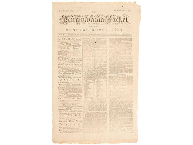 REVOLUTIONARY WAR: SURRENDER OF CORNWALLIS & THE END OF THE WAR. The Pennsylvania Packet or the General Advertiser. Philadelphia: David Claypoole, October 25, 1781. Vol 10, no 797.