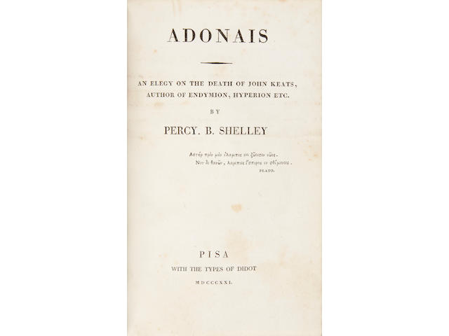 SHELLEY, PERCY BYSSHE. Adonais. An Elegy on the Death of John Keats, Author of Endymion, Hyperion Etc. Pisa: with the types of Didot, 1821.