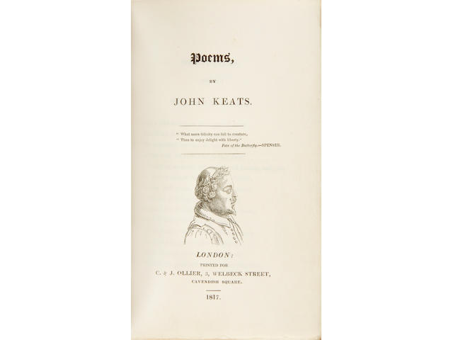 KEATS, JOHN. 1795-1821. Poems.  London: C. & J. Ollier, 1817.