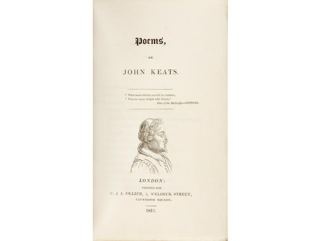 KEATS, JOHN. 1795-1821. Poems.  London: C. & J. Ollier, 1817.