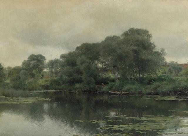 Emilio Sanchez-Perrier (Spanish, 1855-1907) Stillness on a lily pond 15 3/4 x 22in (40 x 56cm)