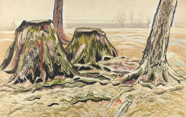 Charles Burchfield (1893-1967) Tree Stumps 14 1/4 x 22 1/2in