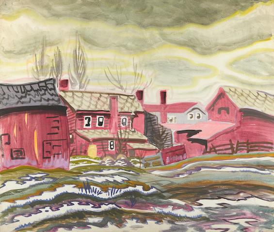Charles Burchfield (1893-1967) Fish Houses 18 x 21in